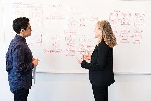 Male & female in front of whiteboard