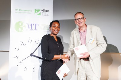 Dr Pete Moore of sponsor ThinkWrite presents prizes to the Vitae 3MT finalists 2015