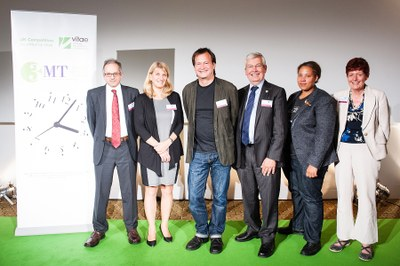 The judges line-up for the Vitae 3MT final, 2015