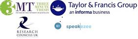 RCUK, Speakezee, Taylor & Francis 3MT logos