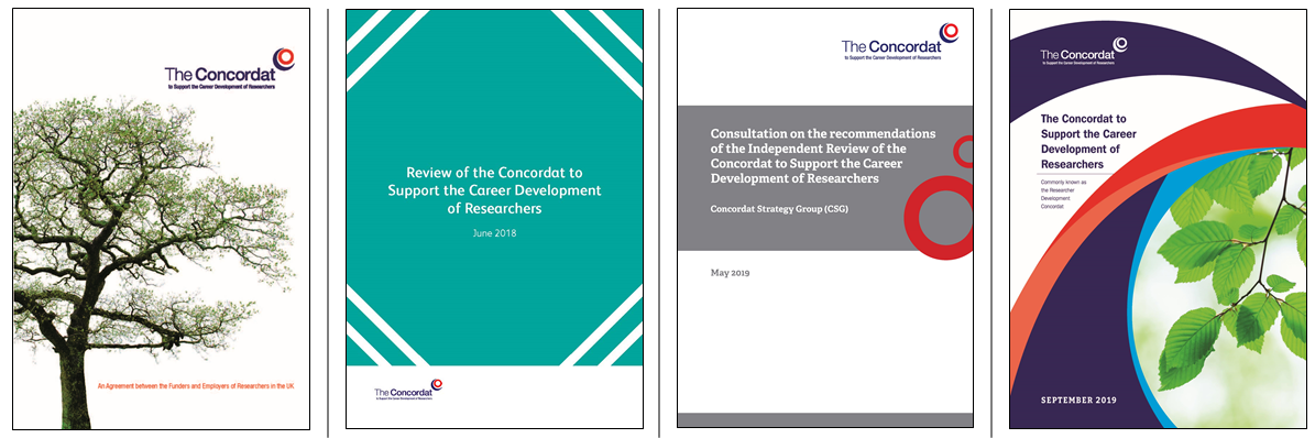 Front covers from the 2008 Concordat, independent review, consultation, 2019 researcher development concordat