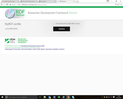 MyRDF Profile splash page
