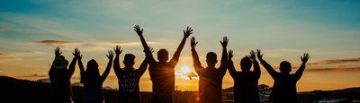 people sunset hands wellbeing