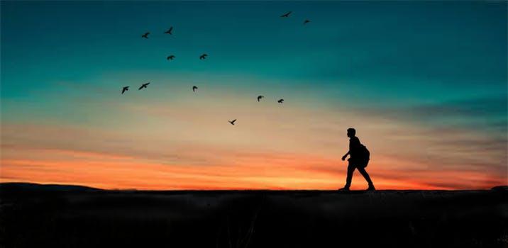 Man walking in sunset